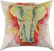 Pormow Elefant Baumwolle und Leinen Sofa/Hotel/Auto/Büro Dekorative Kissenbezüge Hochzeitsgeschenk,43x43cm