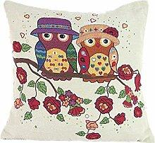 Pormow EULE Baumwolle und Leinen Sofa/Hotel/Auto/Büro Dekorative Kissenbezüge Hochzeitsgeschenk,44x44cm