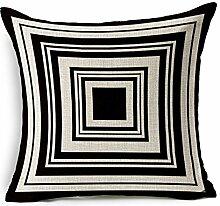 Pormow Geometrische Linien schwarz / weiß Baumwolle und Leinen Sofa/Hotel/Auto/Büro Dekorative Kissenbezüge Hochzeitsgeschenk,45x45cm
