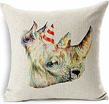 Pormow Giraffe Zebra Nashorn Tiere Baumwolle und Leinen Sofa/Hotel/Auto/Büro Dekorative Kissenbezüge Hochzeitsgeschenk,45x45cm