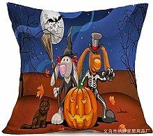 Pormow Halloween Baumwolle und Leinen Sofa/Hotel/Auto/Büro Dekorative Kissenbezüge Hochzeitsgeschenk,44x44cm