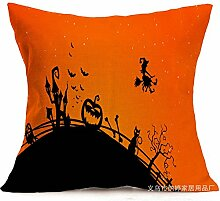 Pormow Halloween Baumwolle und Leinen Sofa/Hotel/Auto/Büro Dekorative Kissenbezüge Hochzeitsgeschenk,43x43cm