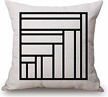 Pormow Klassisches Schwarz und weiß Geometrische Baumwolle und Leinen Sofa/Hotel/Auto/Büro Dekorative Kissenbezüge Hochzeitsgeschenk,45x45cm