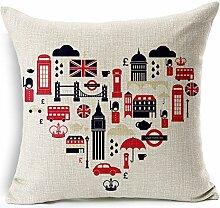 Pormow London Baumwolle und Leinen Sofa/Hotel/Auto/Büro Dekorative Kissenbezüge Hochzeitsgeschenk,45x45cm