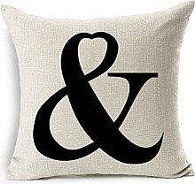 Pormow MR & MRS Paare Baumwolle und Leinen Sofa/Hotel/Auto/Büro Dekorative Kissenbezüge Hochzeitsgeschenk,45x45cm