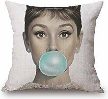 Pormow Schönheit Baumwolle und Leinen Sofa/Hotel/Auto/Büro Dekorative Kissenbezüge Hochzeitsgeschenk,45x45cm