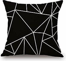 Pormow Schwarz / weiß Geometrische Baumwolle und Leinen Sofa/Hotel/Auto/Büro Dekorative Kissenbezüge Hochzeitsgeschenk,45x45cm