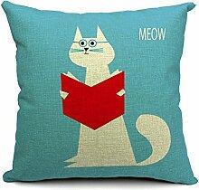 Pormow Süße Katze Baumwolle und Leinen Sofa/Hotel/Auto/Büro Dekorative Kissenbezüge Hochzeitsgeschenk,45x45cm