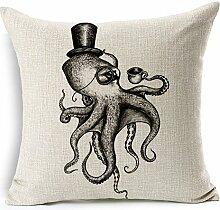 Pormow Tintenfisch Octopus Baumwolle und Leinen Sofa/Hotel/Auto/Büro Dekorative Kissenbezüge Hochzeitsgeschenk,45x45cm