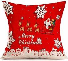 Pormow Weihnachten Christmas Baumwolle und Leinen Sofa/Hotel/Auto/Büro Dekorative Kissenbezüge Hochzeitsgeschenk,43x43cm