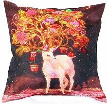 Pormow Weihnachten Christmas Baumwolle und Leinen Sofa/Hotel/Auto/Büro Dekorative Kissenbezüge Hochzeitsgeschenk,44x44cm