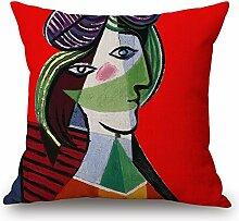 Pormow Weltberühmte Gemälde Baumwolle und Leinen Sofa/Hotel/Auto/Büro Dekorative Kissenbezüge Hochzeitsgeschenk,45x45cm