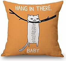 Pormow ZIP der Katze Baumwolle und Leinen Sofa/Hotel/Auto/Büro Dekorative Kissenbezüge Hochzeitsgeschenk,45x45cm