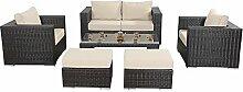 Port Royal Luxe kleine Sofa-Set, braun, mit Kaffee Tisch und Hockern