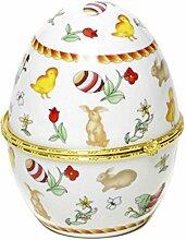 Porzellan Ei Osterei Ostern aufklappbar Schmuckschatulle Dekoei Hase neu + Brillibrum Flyer Geschenke Geschenkidee Kinder (Porzellan Ei - Hase)