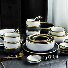 Porzellan Geschirrset, 22 Stück Keramik Teller -