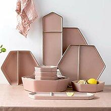 Porzellan Geschirrset, 22 Stück Morandi pink