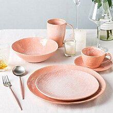 Porzellan Geschirrset, 22 Stück rosa Porzellan