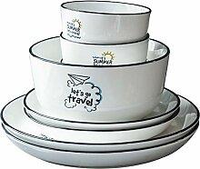 Porzellan Geschirrset, 25 Stück Einfaches
