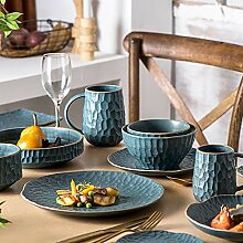Porzellan Geschirrset, 39 Stück Matte Serie blau