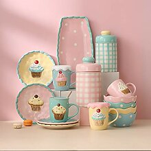 Porzellan Geschirrset, 47 Stück Kuchen Serie