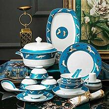 Porzellan Geschirrset, 50 Stück Klassisches