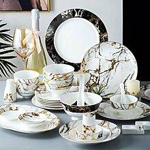 Porzellan Geschirrset, 52 Stück Marmor Textur