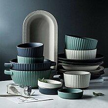 Porzellan Geschirrset, 54 Stück Keramik Essteller