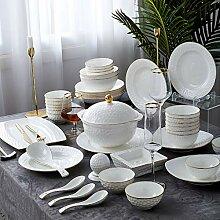Porzellan Geschirrset, 60 Stück handgefertigtes
