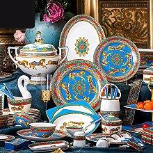 Porzellan Geschirrset, 74 Stück Luxus Porzellan