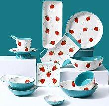 Porzellan Geschirrset, Relief Erdbeermuster