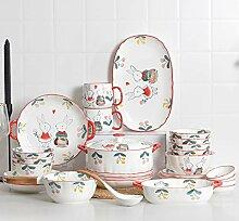 Porzellan Geschirrset, Suppentopf Müslischale und