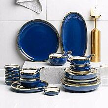 Porzellan Geschirrset, Teller/Schüssel/Löffel  