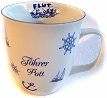 Porzellan- Große Tasse, Kaffeepott, Becher- Föhr- maritim- deutsches Produktdesign