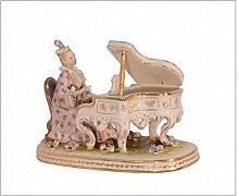 Porzellan Lady am Klavier Porzellanfigur Geschenkidee Accesoires Wohndecko Handbemalt H: 22,2 cm