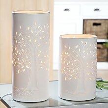 Porzellan Lampe Zylinder LEBENSBAUM groß - Gilde