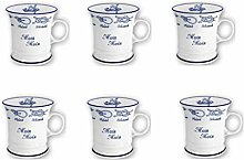 Porzellan- MINI- Tasse, Kaffeepott, Becher- Moin, Moin- Innendruck Ebbe und Flut - Knotenranke- deutsches Produktdesign