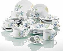 Porzellan Tafelservice 42 tlg. Geschirr Set, mit je 6 Kaffeetasse und Untertasse, Espressotasse und Untertasse, Dessertteller, Speiseteller, Suppenteller für Kaffeeservice