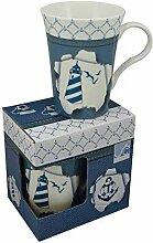 Porzellan- Tasse, Kaffeepott, Becher- maritim in dekorativer Geschenkebox