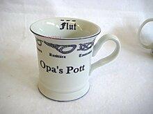 Porzellan- Tasse, Kaffeepott, Haferl- Opa's Pott+ Innendruck Ebbe/Flut- Knoten
