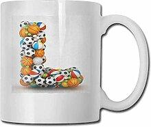 Porzellan-Teetasse mit Buchstabe L, Alphabet,