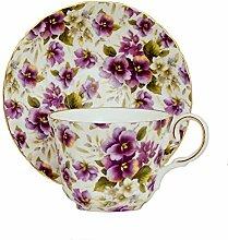 Porzellan-Teetasse und Untertasse, Motiv