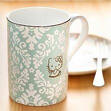 Porzellanbecher mit Löffel mit Deckel Kaffeetasse