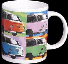 Porzellanbecher mit VW-Bus-Motiv– buntes Retro-Design in Geschenkbox