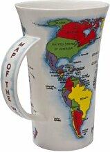 Porzellanbecher mit Weltkarten- Design, tolles Geschenk!