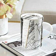 Porzellanbecher Tasse Keramik mit Deckel Löffel