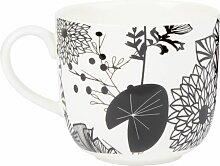 Porzellanbecher weiß mit schwarzen Blumenmotiven