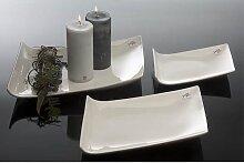 Porzellanplatte, Kerzenteller TRAPEZ 19x14cm weiß Porzellan Sandra Rich (6,95 EUR / Stück)