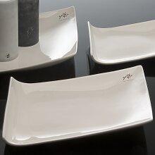 Porzellanplatte, Kerzenteller TRAPEZ 30x22cm eckig weiß Porzellan Sandra Rich (18,50 EUR / Stück)