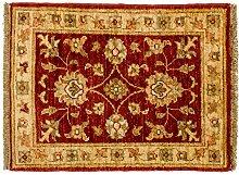 Poshti Ziegler Farahan Pakistan ca. 65 x 50 cm · Rot · handgeknüpft · Schurwolle · Klassisch · hochwertiger Teppich · 15041
